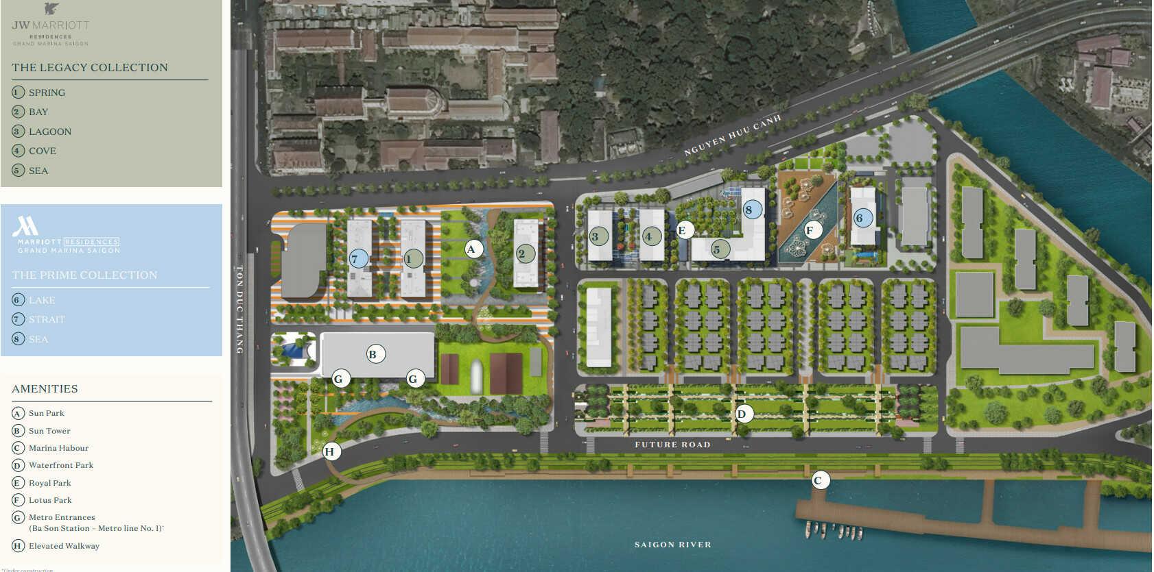 mặt bằng tiện ích dự án Grand Marina